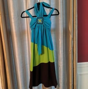 Bright soft cotton maxi with halter and straps